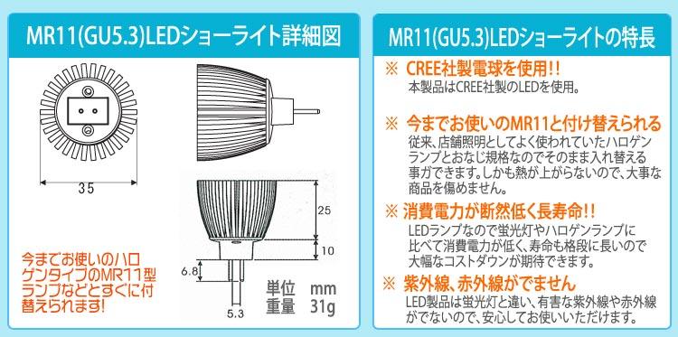 本製品はLEDメーカーの中でも日亜科学と並ぶ 屈指のメーカーCREE社製を使用しております。LEDランプなので蛍光灯やハロゲンランプに 比べて消費電力が低く、寿命も格段に長いので 大幅なコストダウンが期待できます。従来、店舗照明としてよく使われていたハロゲン ランプとおなじ規格なのでそのまま入れ替える 事ガできます。しかも熱が上がらないので、大事な 商品を傷めません。LED製品は蛍光灯と違い、有害な紫外線や赤外線 がでないので、安心してお使いいただけます。