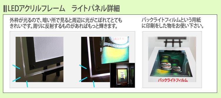 LEDライトパネル アクリルフレーム 詳細